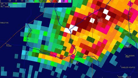 Radar reflectivity image of the tornado as it formed over Atlanta. (Courtesy: National Weather Service in Peachtree City)