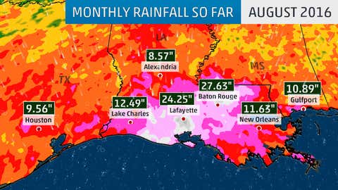 August 2016 rainfall along the north-central and western Gulf coast through August 25.