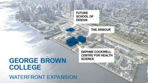 A map of George Brown College's Waterfront Campus, including the future 12-storey wood building, The Arbour. HANDOUT/George Brown College