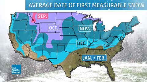 Average month of first measurable snow of the season. (Version corrected for the Oregon coast on Sep. 30, 2017)