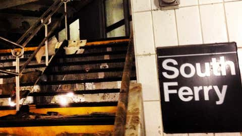 Oct. 29, 2013 - This is an example of the damage sustained by the South Ferry station on the New York City Subway's 1 Line. The station was flooded during Hurricane Sandy. (MTA New York City Transit/David Henly)