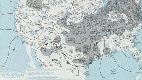 Daily weather map from Dec. 31, 1978 of the N. Texas ice storm. (NOAA Central Library/U.S. Daily Weather Maps Project)