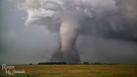 Storm chaser Roger Hill and his tour group, Silver Lining Tours, saw a total of eight tornadoes during their chase Wednesday, June 18, 2014, in South Dakota. (Roger Hill/Silver Lining Tours)