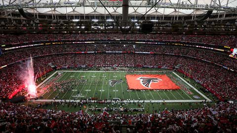 The Atlanta Falcons are introduced before taking on the San Francisco 49ers in the NFC Championship game at the Georgia Dome on January 20, 2013 in Atlanta, Georgia.  (Mike Ehrmann/Getty Images)
