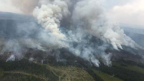 The Wentworth Creek wildfire ~80 km NW of Williams Lake (taken July 26). It is currently around 1,383 ha. (Courtesy BC Wildfire Service via Twitter)
