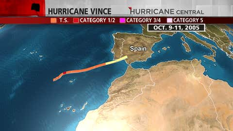 Track of Hurricane Vince in early-mid October 2005.
