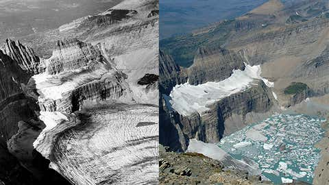 A side-by-side comparison of Grinnell Glacier in Montana's Glacier National Park. The black-and-white photo on the left dates from 1938, while the color photo on the right was taken in 2009. (T.J. Hileman and Lindsey Bengtson, USGS)