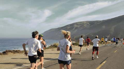 Runners are drawn to California's Big Sur Marathon for both its beauty and its challenges, especially the infamous hill known as Hurricane Point. Here, the course climbs more than 300 feet over a single mile. (Courtesy Big Sur Marathon)