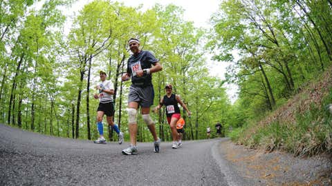 """North Carolina's Blue Ridge Marathon bills itself as """"America's Toughest Road Marathon"""" for a reason – there's more than 7,200 feet of elevation change over its 26.2 miles. Most runners say the downhill stretches are the most punishing part of the race. (Courtesy Blue Ridge Marathon)"""
