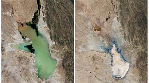 A before and after photo set of satellite images showing Lake Poopo flush with water on April, 12, 2013, left, and nearly entirely desertified on Jan. 15, 2016. (NASA Earth Observatory via AP)