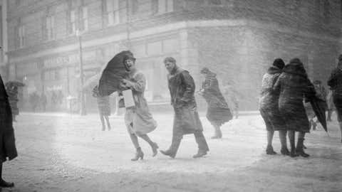 Circa 1930. Snowstorm in Boston. (Courtesy of the Boston Public Library, Leslie Jones Collection)