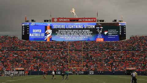 Players are called off the field during a lightning delay during preseason action between the Denver Broncos and the Seattle Seahawks at Sports Authority Field at Mile High on August 7, 2014 in Denver, Colorado. (Photo by Doug Pensinger/Getty Images)