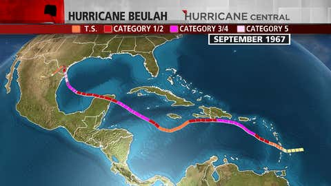 In 1967, the first Atlantic hurricane did not arrive until Arlene on September 2.  Hurricane Beulah made landfall as a Category 5 hurricane south of the Texas/Mexico border in September 1967.