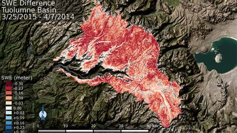 Deficit in the total volume of water contained within the Tuolumne River Basin snowpack from April 7, 2014 to March 25, 2015. The deeper the red color, the greater the volume of water lost.
