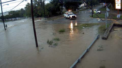Street flooding at intersection of Whaley and Main in Columbia, South Carolina, on Oct. 10, 2015.