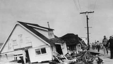 An archived image showing storm damage in the Sunset Beach area, Sept. 1939.