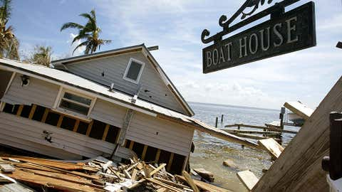 Charley was the strongest hurricane to hit the U.S. in 22 years. Although small in size, Charley produced a swath of wind damage from southwest to northeast Florida. (Photo: A destroyed boathouse is seen on Captiva Island August 18, 2004 in Captiva, Florida; Mario Tama/Getty Images)