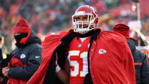 Outside linebacker Frank Zombo #51 of the Kansas City Chiefs watches the scoreboard from the sidelines during the game against the Tennessee Titans at Arrowhead Stadium on December 18, 2016 in Kansas City, Missouri. (Photo by Peter Aiken/Getty Images)