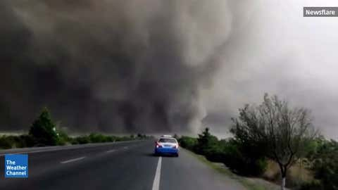 A tornado and gust front in Jilin Province, China on May 31, 2015. (Newsflare)