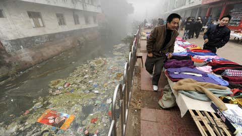 80 percent of China's water has been found to be too contaminated to drink or bathe in, according to a new report. (Peter Parks/AFP/Getty Images)