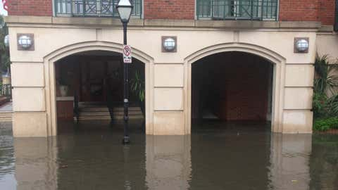 Flooding in Charleston, South Carolina, during the morning high tide on October 27, 2015. (Steve Petyerak/The Weather Channel)