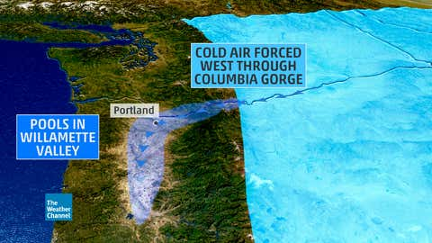 How cold air gets into the Portland, Oregon, metro area, setting the stage for snow and ice, there.