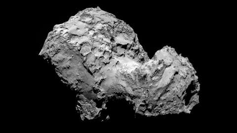 Comet 67P/Churyumov-Gerasimenko by Rosetta's OSIRIS narrow-angle camera on August 3, 2014, from a distance of 177 miles (285 kilometers).