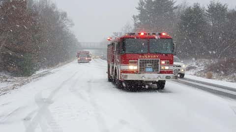 Ocean effect snow caused multiple accidents along Massachusetts Route 3 Monday afternoon. (Duxbury Fire Department)