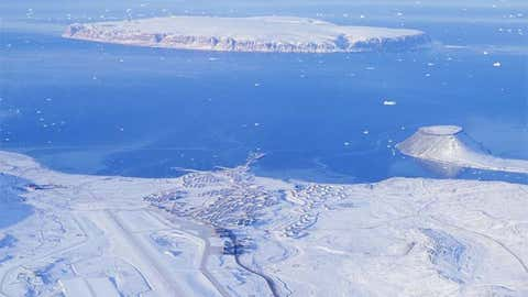 Aerial view of Thule Air Force Base in northwest Greenland