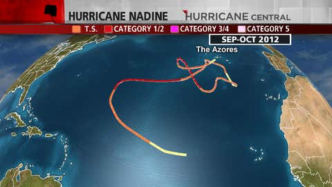 Nadine's meandering three-week-plus odyssey in September and early October 2012 affected The Azores not once, but twice.  Nadine strengthened to a hurricane three different times.