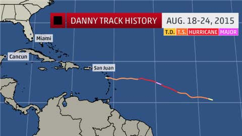 The historical track for Hurricane Danny.