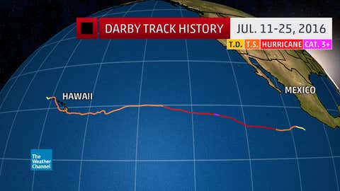 Track history of Hurricane Darby from July 11-25, 2016.
