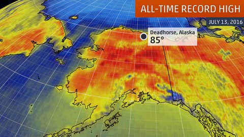 Deadhorse, Alaska, set an all-time record high of 85 degrees on July 13, 2016.