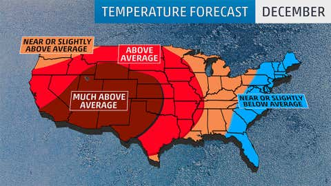 December 2016 temperature outlook from The Weather Company, an IBM Business, released Fri. September 23, 2016.
