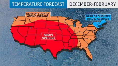December 2016 - February 2017 temperature outlook from The Weather Company, an IBM Business, released Fri. Sep. 23, 2016.