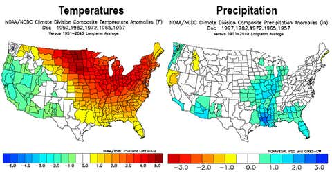 Temperature (left) and precipitation (right) anomalies in December during five previous strong El Niños. (NOAA/NCEI)