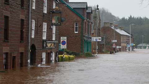 Flooded roads in the centre of Appleby, north west England, as Storm Desmond hits the United Kingdom, Saturday Dec. 5, 2015. Roads have been closed throughout the North and Scotland as Storm Desmond caused road chaos, landslides and flooding.
