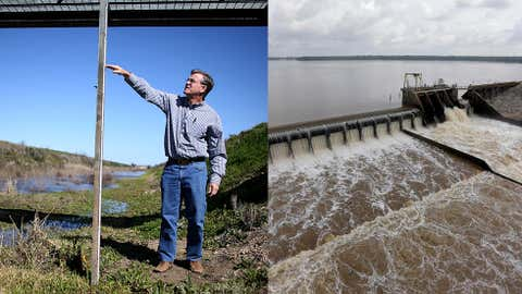 (Left) Ronald Gertson, a fourth generation rice farmer, shows where the level of water should be on a measuring stick in an irrigation canal as he deals with trying to grow rice during the severe drought on March 12, 2014 in Lissie, Texas. (Right) Water flows over the spillway from Lake Houston into the San Jacinto River Saturday, May 30, 2015, in Houston. (Joe Raedle - Getty Images/AP Photo - David J. Phillip)