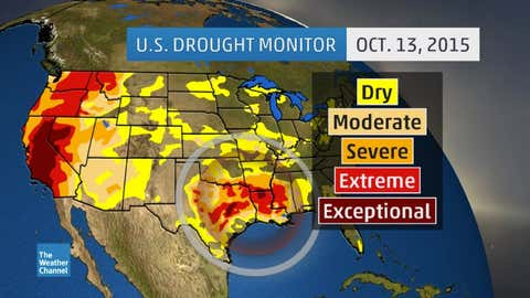 Drought monitor analysis as of October 13, 2015. Categories of worse drought are depicted by progressively darker orange, red, and brown contours. (USDA, NOAA, NDMC)