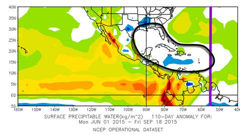 A graphic showing precipitable water, or a measure of moisture in a column of the atmosphere, anomalies this Atlantic tropical season. There has been a notable lack of moisture from the Gulf of Mexico into the Caribbean.