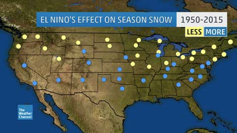 Is your season's snow less or more during El Niño? Yellow/blue dots indicate locations that, based on National Weather Service data since 1950, see less/more snow during El Niño seasons, respectively.