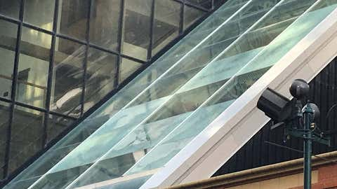 Pieces of the window have been coming down and shattering glass at Devonian Gardens.