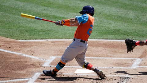 Houston Astros' Jose Altuve hits a two-run home run during the first inning of a baseball game against the Los Angeles Angels, Sunday, Aug. 27, 2017, in Anaheim, Calif. (AP Photo/Jae C. Hong)