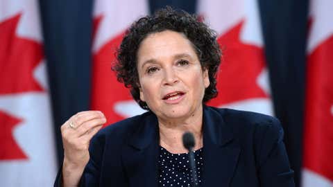 Environment and Sustainable Development Commissioner Julie Gelfand holds a news conference at the National Press Theatre in Ottawa on Tuesday, Oct. 4, 2016. The federal nuclear safety watchdog needs to get better at managing its inspection of nuclear power plants, says the commissioner of environment and sustainable development. (THE CANADIAN PRESS/Sean Kilpatrick)