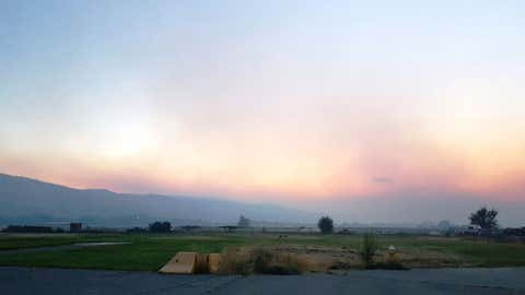 Smoke in the Kamloops area, drifting in from the Elephant Hill fire. (Photo courtesy BC Wildfire Service)