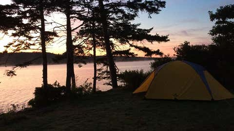 A campsite at Porters Lake Provincial Park at sunrise (Meghan Groff/HalifaxToday.ca)