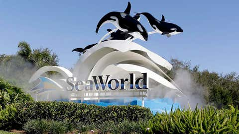 In this Tuesday, Jan. 31, 2017 photo, the entrance to Sea World is seen, in Orlando, Fla. Orlando's top tourist destinations, Walt Disney World, Universal Orlando, SeaWorld and several resorts are in legal battles about how much they're worth with the local property appraiser and tax collector. (AP Photo/John Raoux)