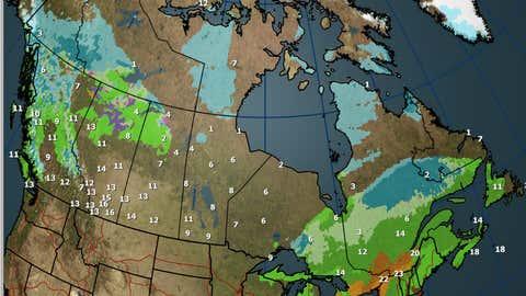 Canada National Forecast for Sunday, October 15, 2017.