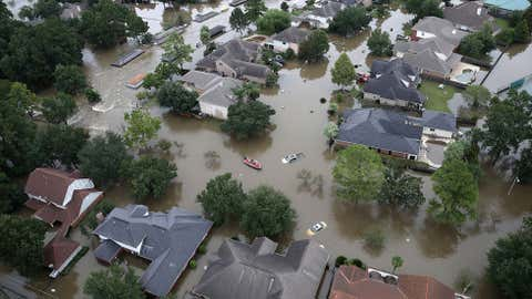 Flooded homes are shown near Lake Houston following Tropical Storm Harvey in Houston, Tex., on Aug. 29, 2017. (GETTY IMAGES/Win McNamee)