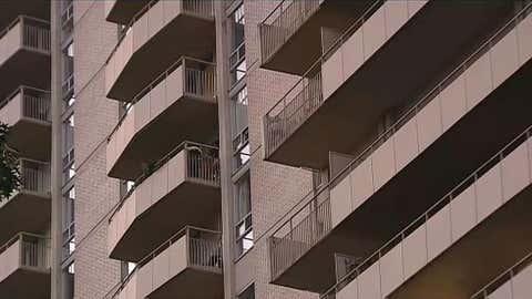 A Toronto apartment building is seen on Sept. 21, 2017, when the heat was turned on during a heat wave. (CITYNEWS)